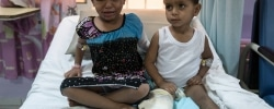 SCIENCES AND TECHNOLOGY HOSPITAL, SANA'A, YEMEN  - 29 APRIL 2017.  Three-year-old Ahmed and his 6-year-old sister Khaoula survived an attack by an airstrike on their house in Al Mutun (Al Jaouf) on 14 April 2017. Their parents, Mohsin and Dhiba died trying to protect them. Ahmed's knee is completely broken and medical staff say that his right leg will no longer grow. Khaoula lost all her teeth and most of her tongue.