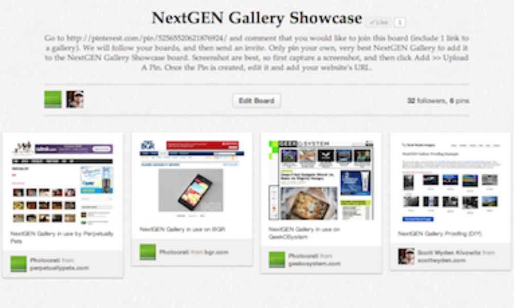 Share Your NextGEN Gallery On Pinterest