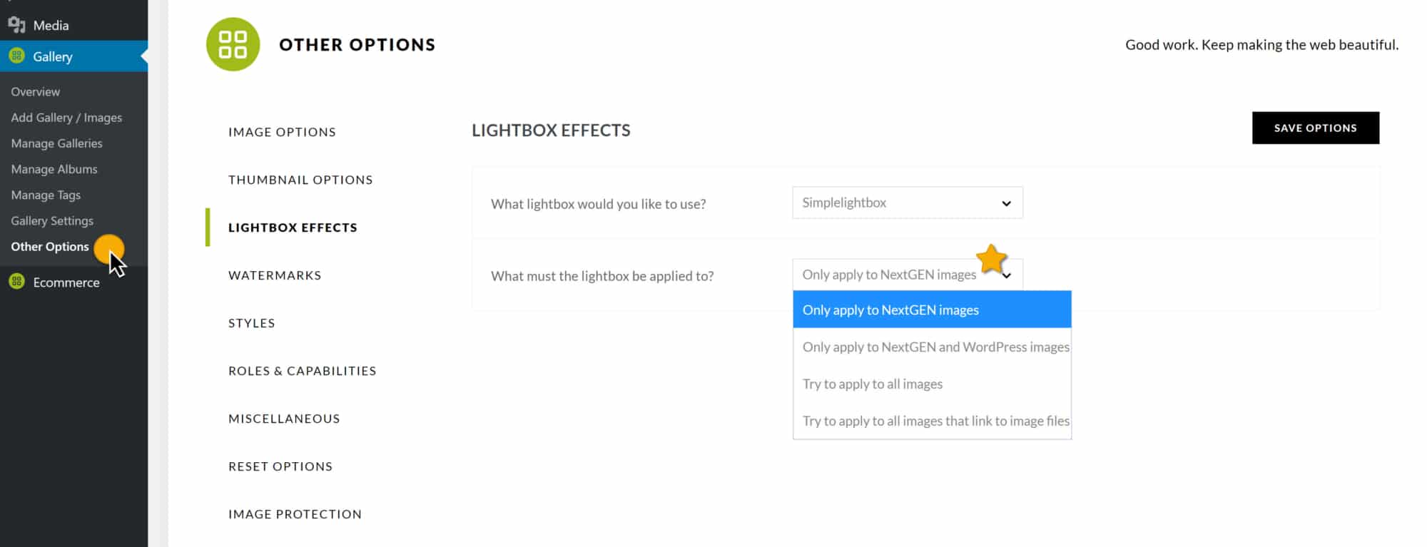 "A screenshot showing the option ""What must the lightbox be applied to?"""