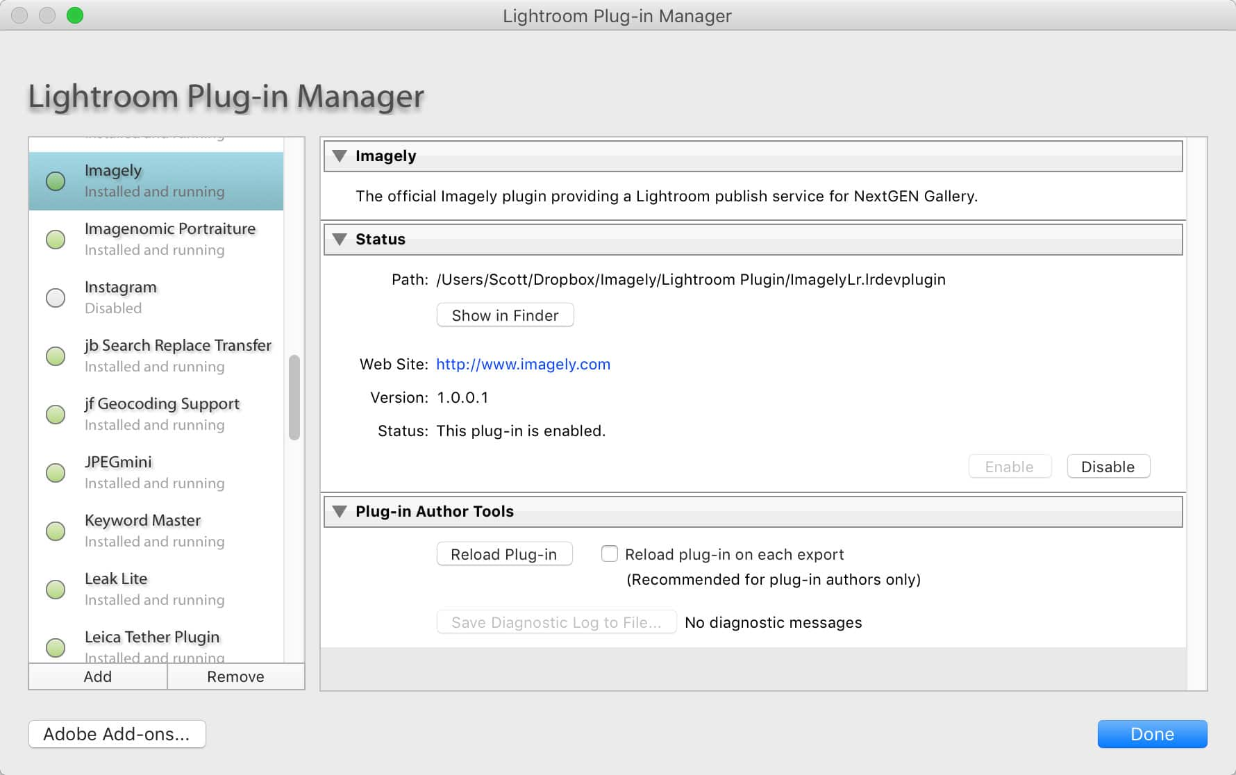 Step 4 - Once installed, make sure the plugin is running and the enable button is shaded.