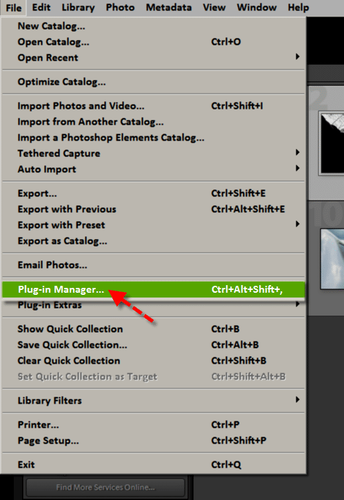 Step 1 - Go to the Plug-in Manager within Lightroom