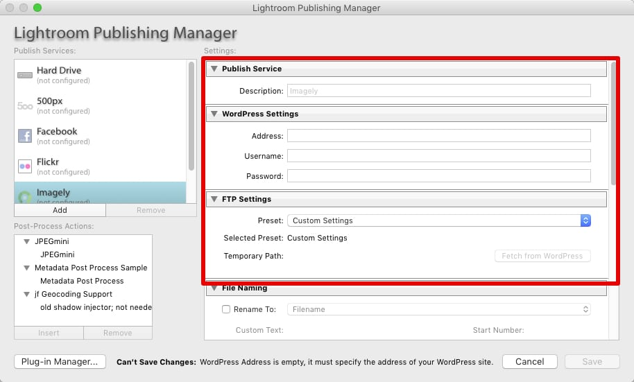 Step 2 - Fill in the description, WordPress Settings and FTP Settings