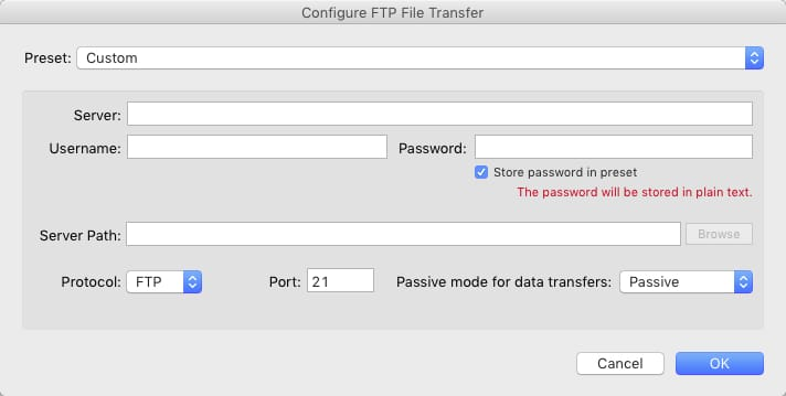 Step 3 - Enter your FTP or SFTP settings as needed.