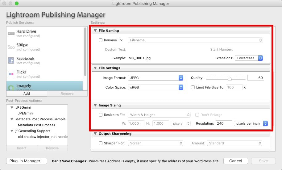 Step 4 - Configure any additional settings that you want used for the publishing service.