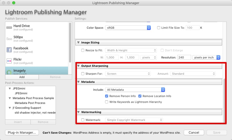 Step 5 - Configure any additional settings that you want used for the publishing service.