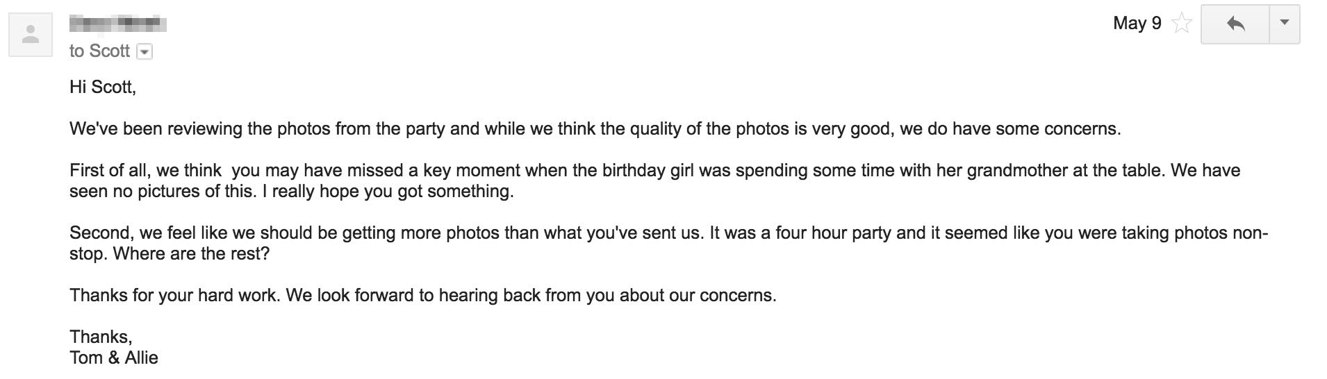 What To Do When A Client Doesn't Like Your Pictures