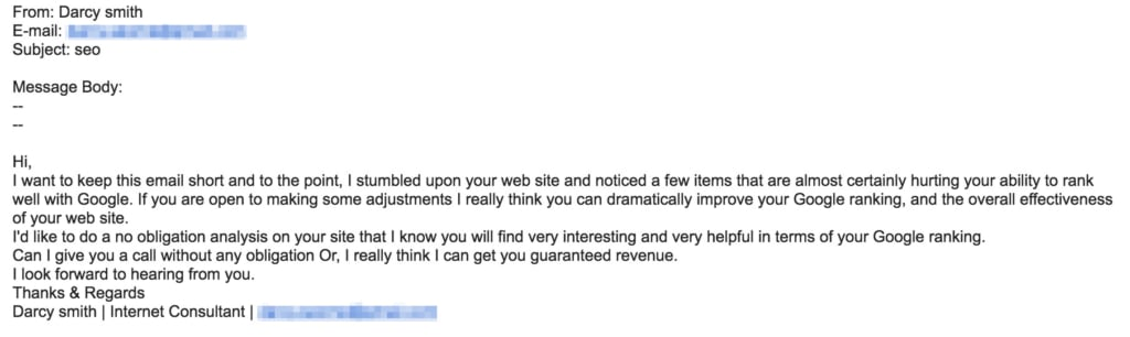 seo email spam example