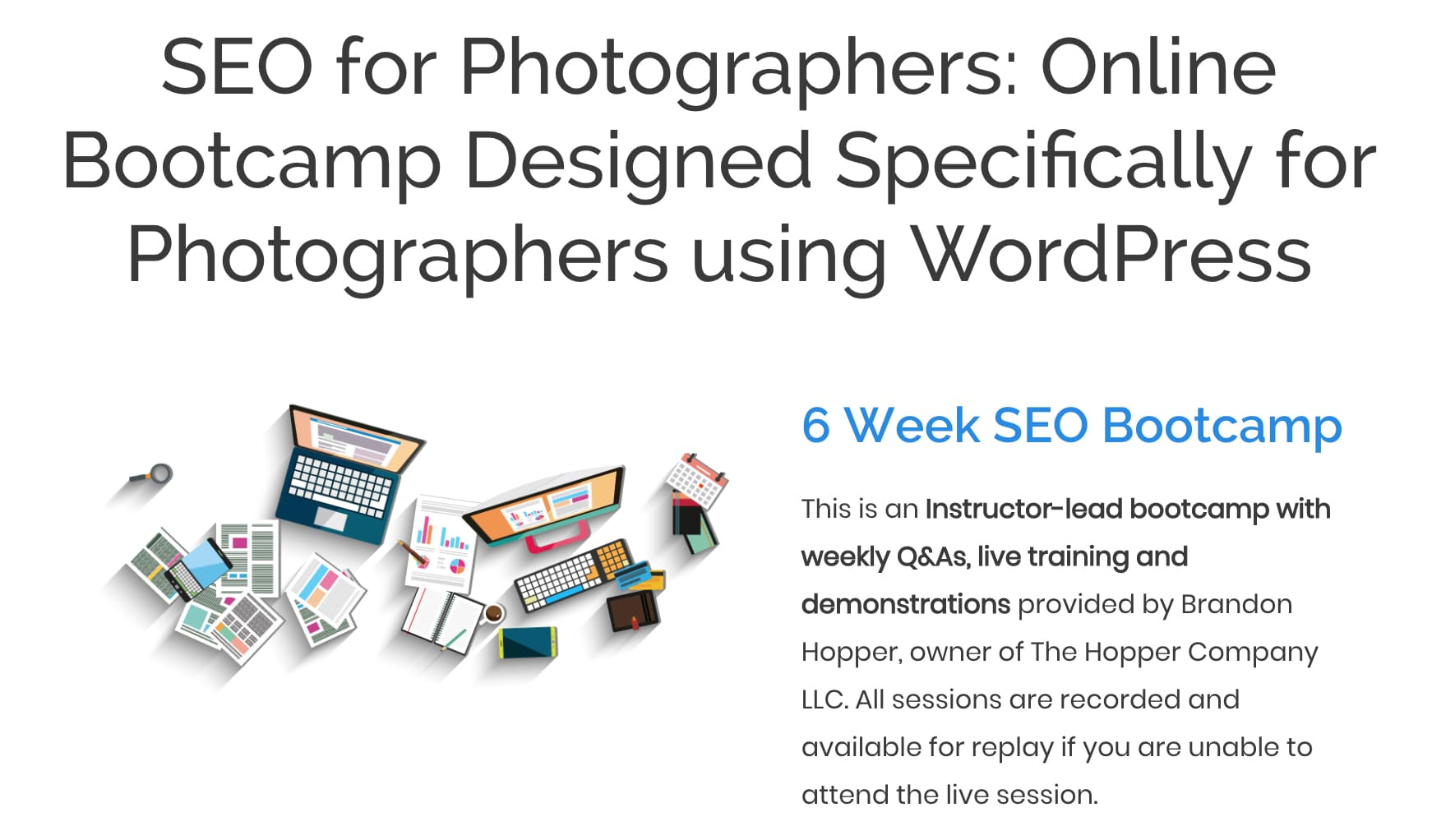seo bootcamp for photographers