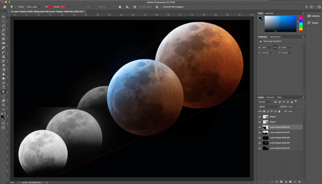 """I created a couple of shape layers and drew two diverging diagonal lines from near the bottom left towards top right to act as guides then used """"Free Transform"""" to scale and move each layer into its intended position. The dominant, red moon in the top right was actually scaled up by a factor of about two compared to the original. Yes, I know I shouldn't upscale images but, in this case, it was a lot easier and cheaper than investing in a 1000mm lens. After this process, I ended up with the following."""