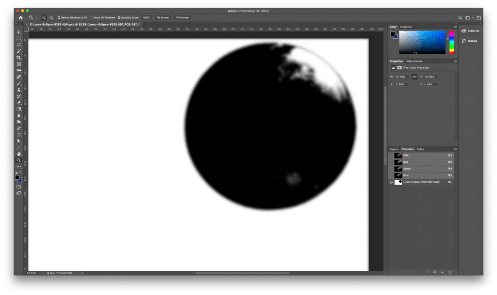 To get rid of this, I used another old trick (again, I'm sure there's some other way to do this now but I know this method and it works well so…). I switched to the Channels palette, selected the latest layer mask and applied a 16-pixel Gaussian blur (Filter/Blur.../Gaussian Blur…).