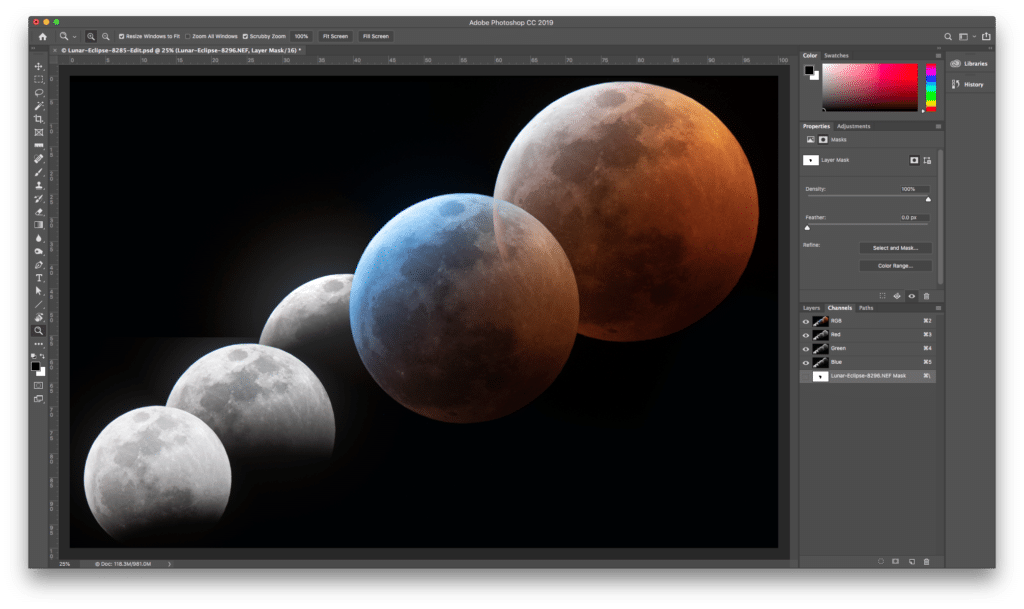 """For the final layer, I wanted the red moon on top. I could have used the same technique as I used for the previous layer but getting the edge clean would have been trickier. Instead, I used the magic wand and a mask blurring trick to exclude the """"blue moon"""" section that overlapped the red moon. This is an old technique I've been using for a while. No doubt there is some faster way to do it with the latest Photoshop but this works for me."""