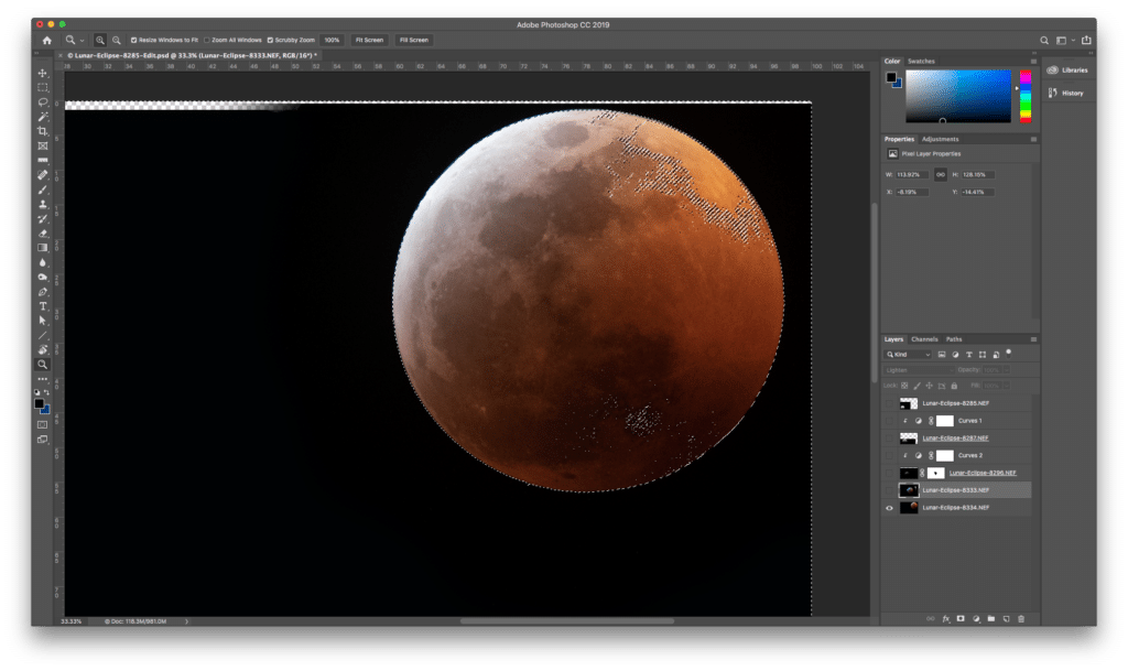 Note that the dancing ants were visible around the whole frame here. Next, I made the blue moon layer visible and, with the selection still active, created a new layer mask for the blue moon. This picked up the selection I had active and masked the blue moon the way I wanted.