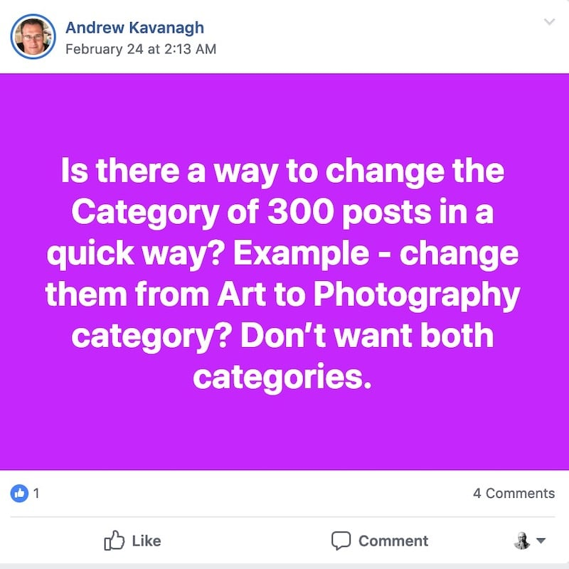 Is there a way to change the category of 300 posts in a quick way?