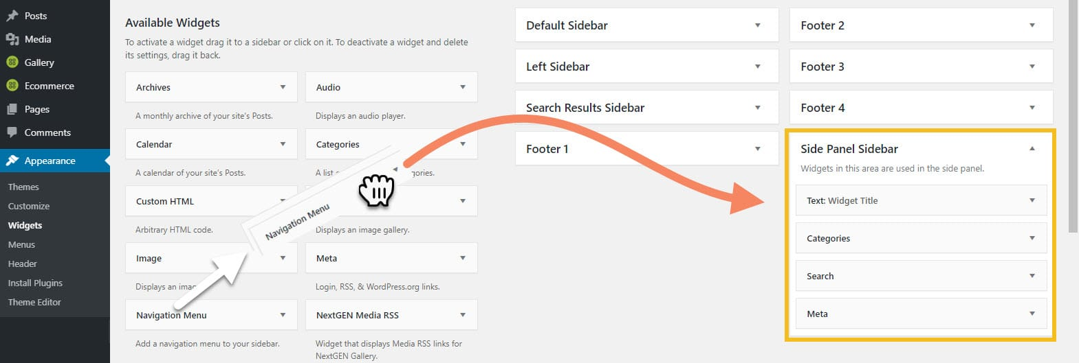 How to drag and drop widgets to the Side Panel sidebar