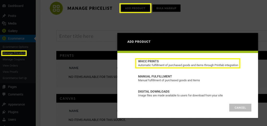 Now it's time to create an image price list. To do this, navigate to Ecommerce > Manage Pricelists > Add New. Name your list, and then select Add Product > WHCC Prints: