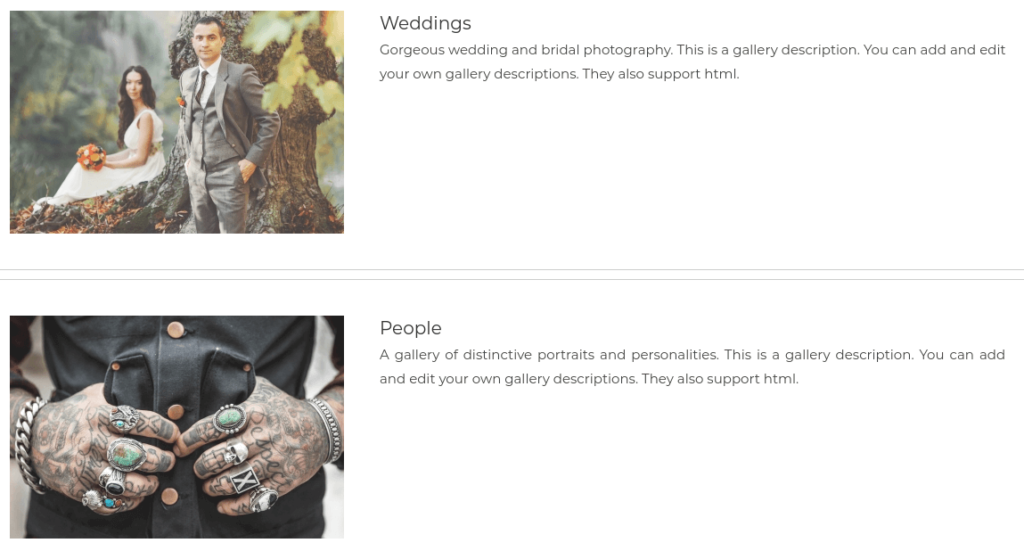 You could then add a Pro List Album to make it easy for your visitors to browse all your galleries and find the category they're interested in: