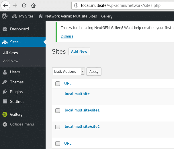 Screenshot of the available sites on a multisite WordPress local install
