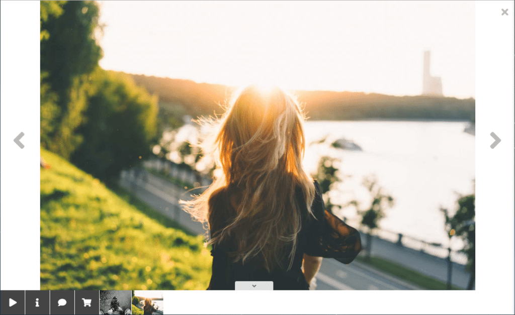 Screenshot of our NextGen Pro Lightbox Effect, and a photo of a girl watching a sunset
