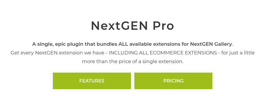 NextGEN Pro is a premium extension of our flagship plugin. You can install it right alongside NextGEN Gallery to incorporate additional features for displaying, promoting, and even selling your photos. It takes basic photography sites to the next level and turns them into full-scale professional hubs: