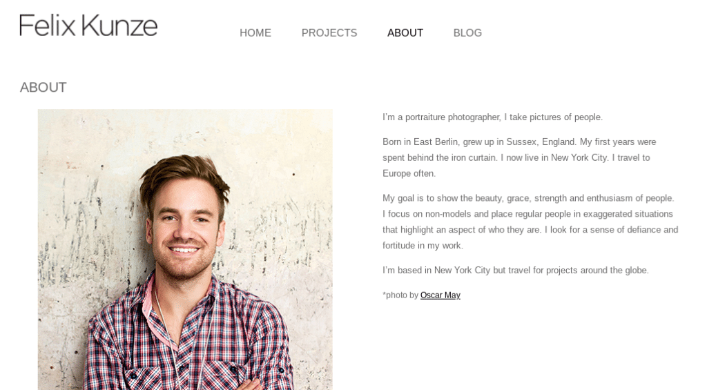 However, your photography website is also an opportunity to brand yourself and build connections with potential clients. In this sense, adding a section on your site to introduce yourself, such as an About Me page, can go a long way: