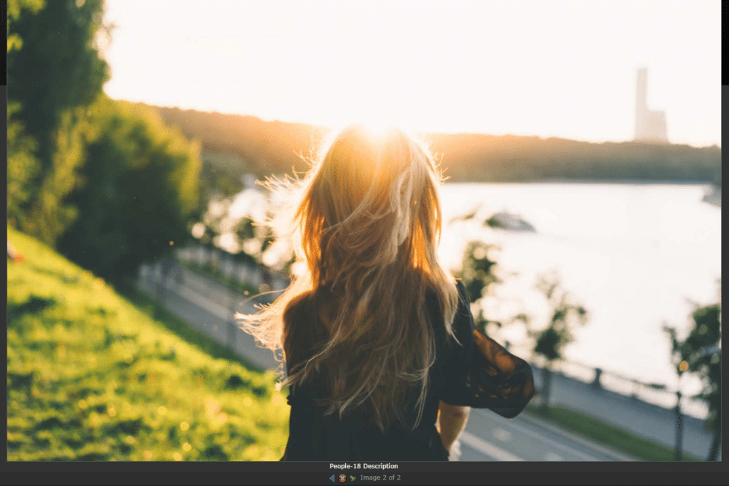 Screenshot of our Shutter Reloadedo Lightbox Effect, and a photo of a girl watching a sunset