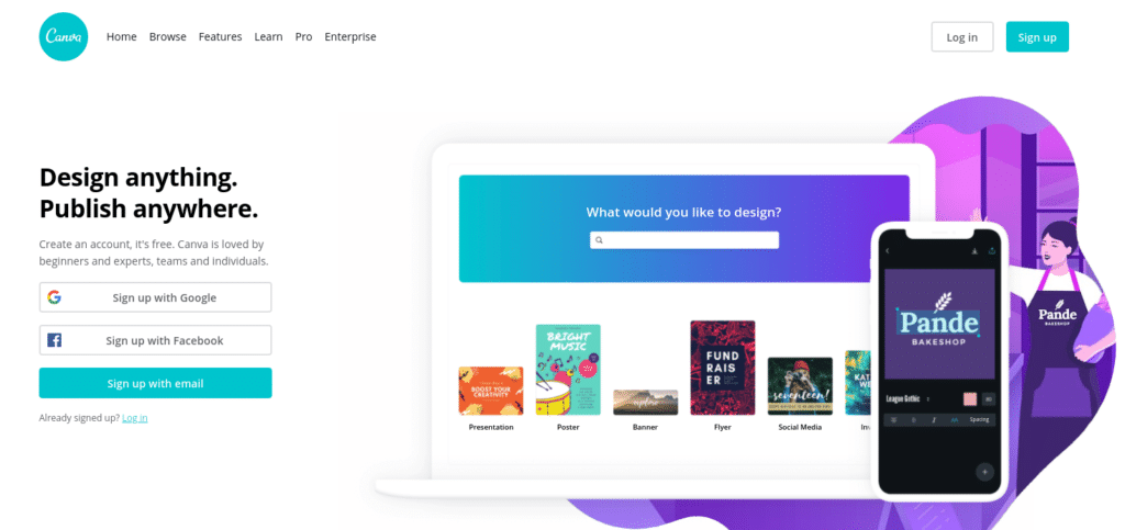 In addition to using the same format, fonts, and logo, it's also important to consider your color scheme. To make consistent branding easier, we recommend using a tool such as Canva: