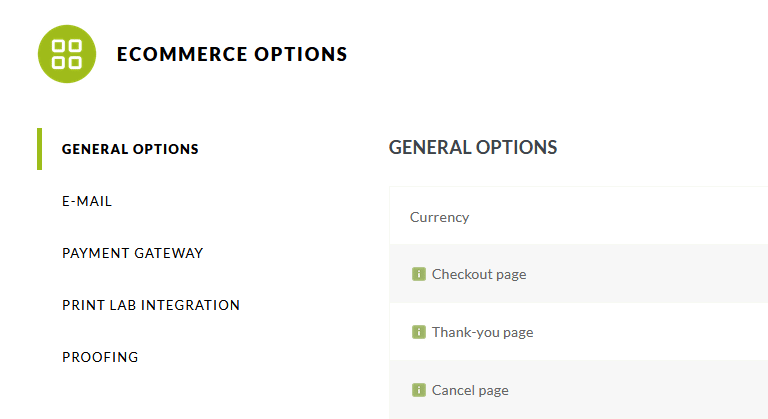 Ecommerce options in NextGen Gallery Pro, general options