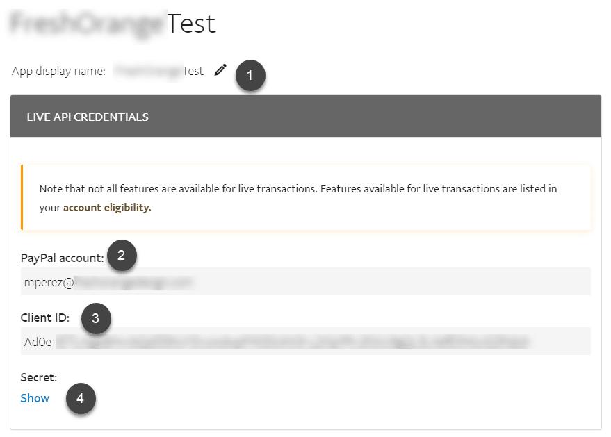 PayPal rest API key ID and secret