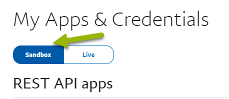 My Apps and credentials, Sandbox option or tab