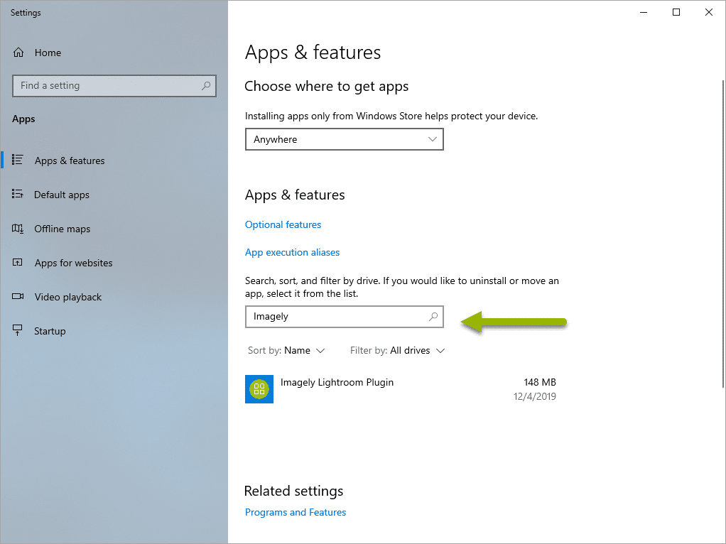 Screenshot of Windows Settings Apps and features