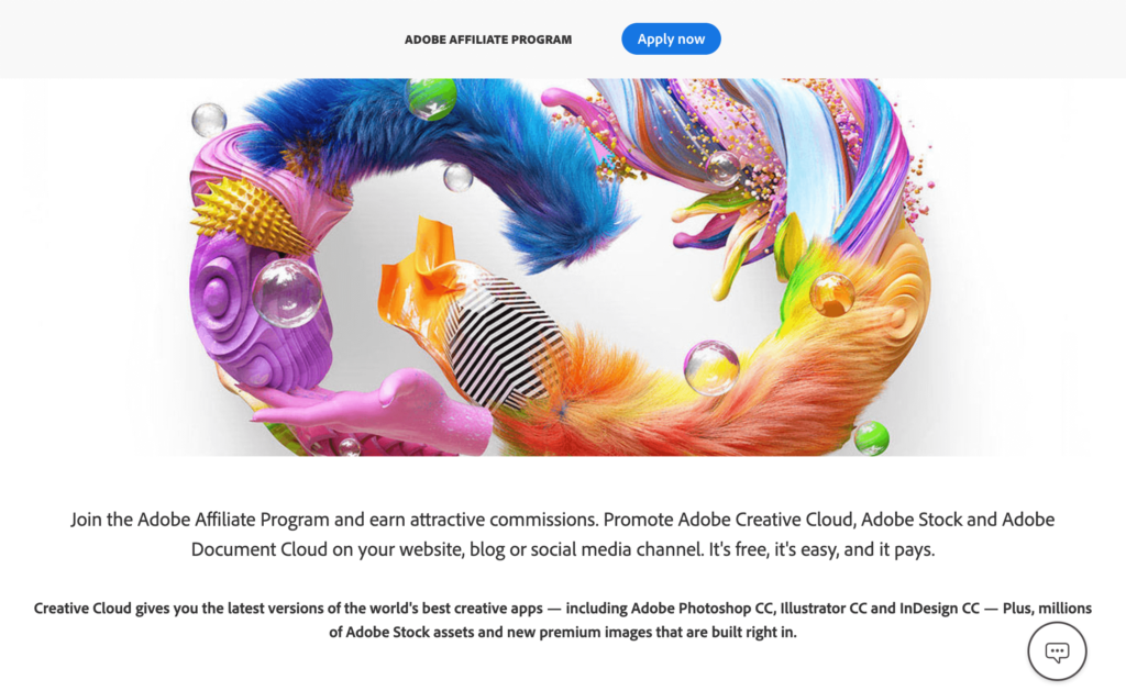 For instance, you could sign up for Adobe's affiliate program to promote Creative Cloud and the company's other software: