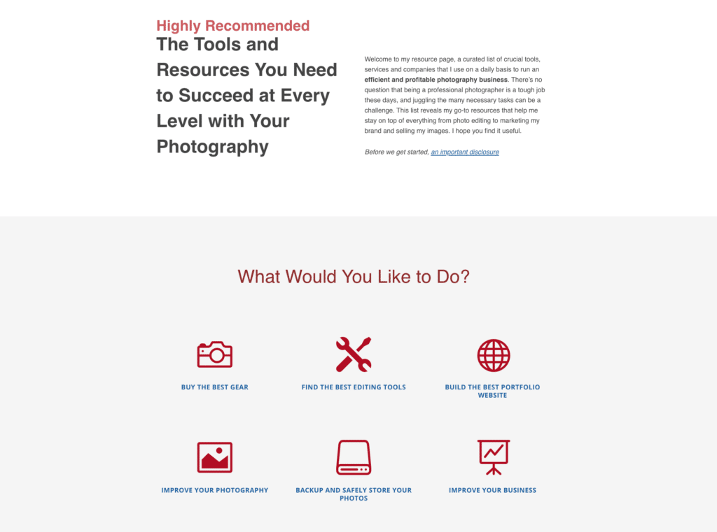 A Resources page acts as a hub, centralizing all the tools and information your audience might be interested in. That can include links to tutorials, services, products, and pretty much anything else that fits the bill: