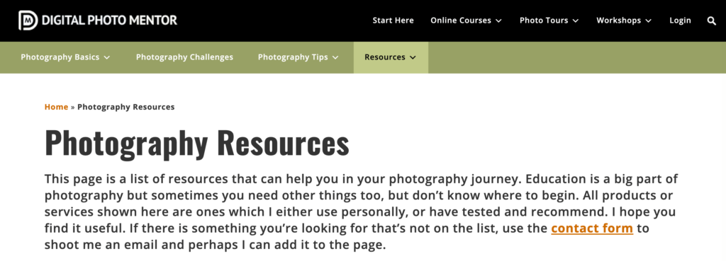 Adding your Resources page to your top bar menu is the most straightforward option. This will make it almost impossible to miss: