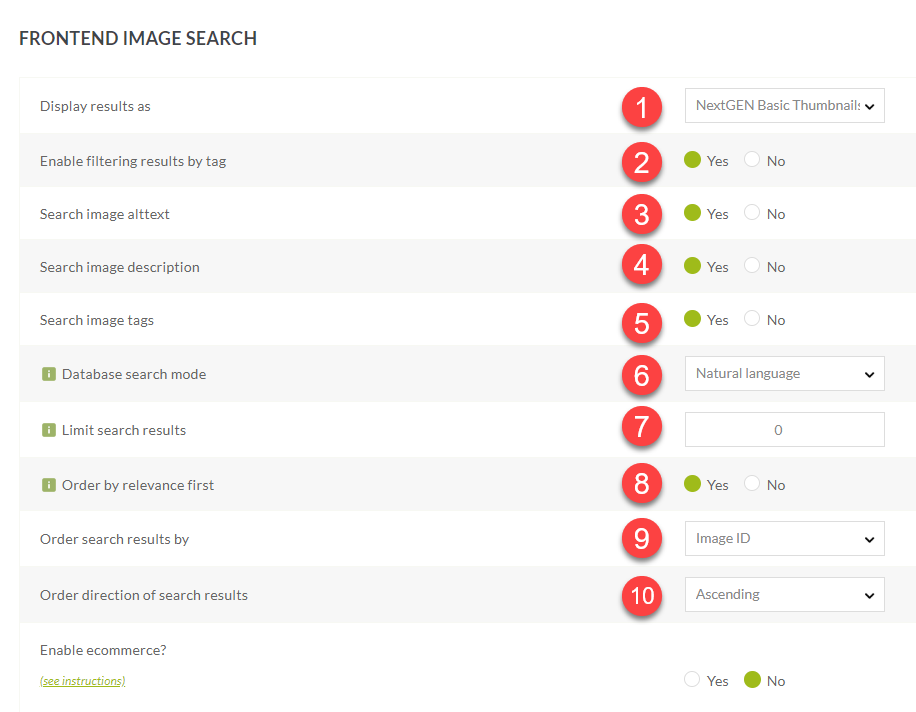 Front End Image Search Settings