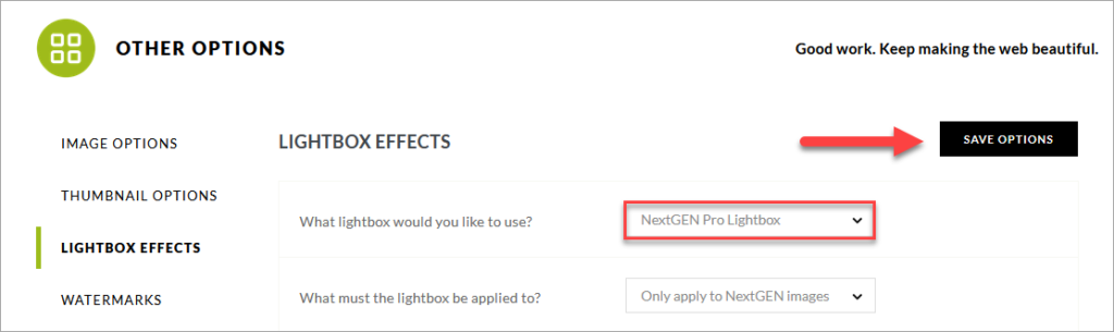 It shows how to enable the NextGEN Pro Lightbox Effect
