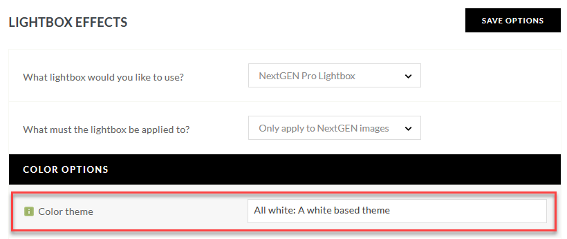 Setting to change or adjust the color theme of NextGEN Gallery Pro Lightbox Effect