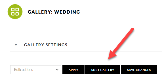 Gallery settings, sort gallery button
