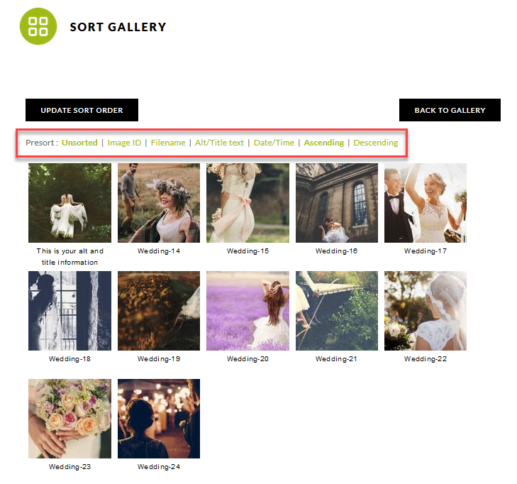 Sort gallery options insde each gallery