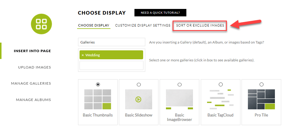Sort or Exclude image tab inside our Insert Graphic Window