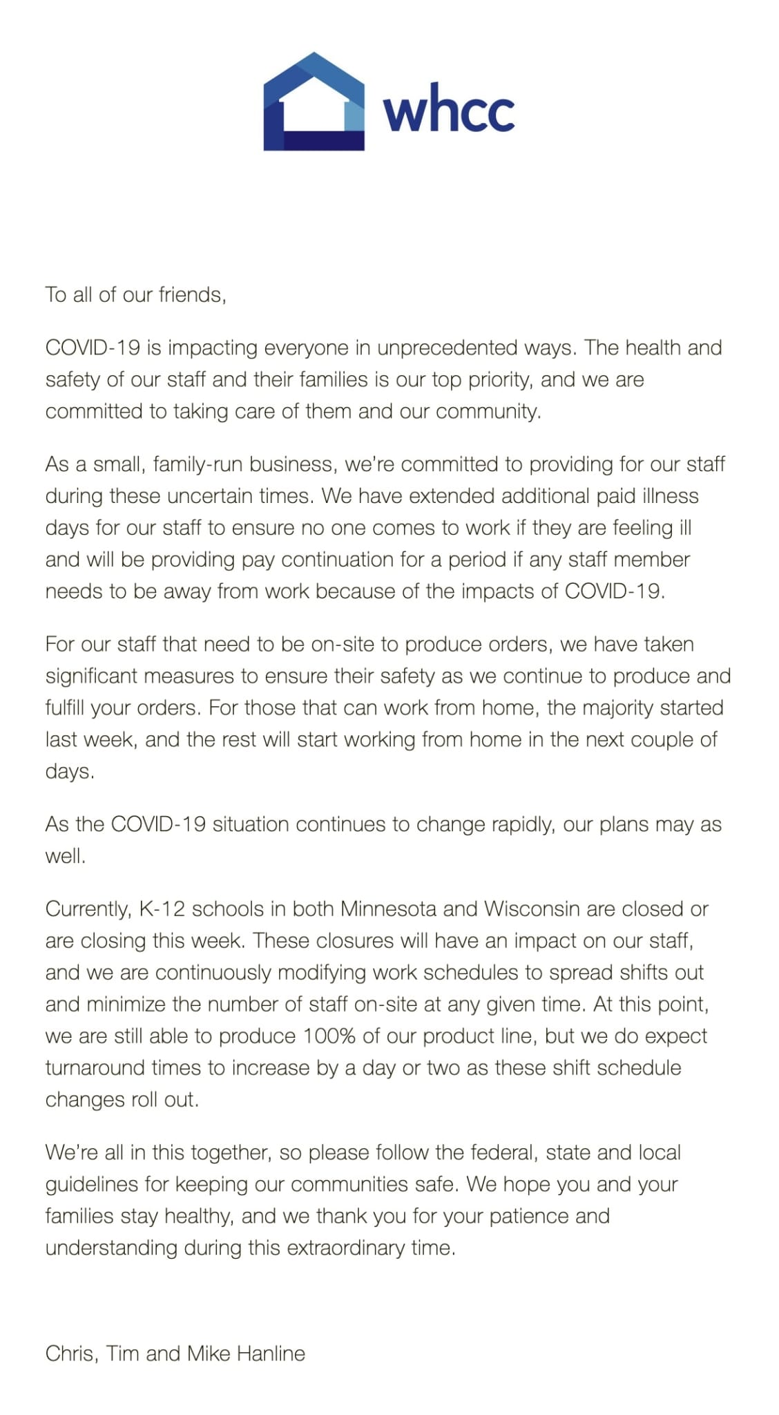 Letter from WHCC customers from Chris, Tim and Mike Hanline.