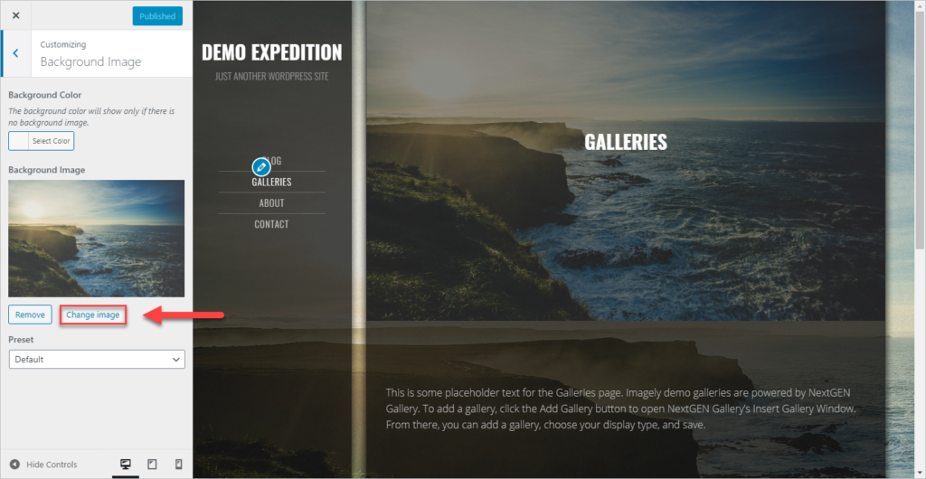 "Screenshot of the customize area and ""Change image"" button, there is athumbnail of a beautiful sea sea landscape"