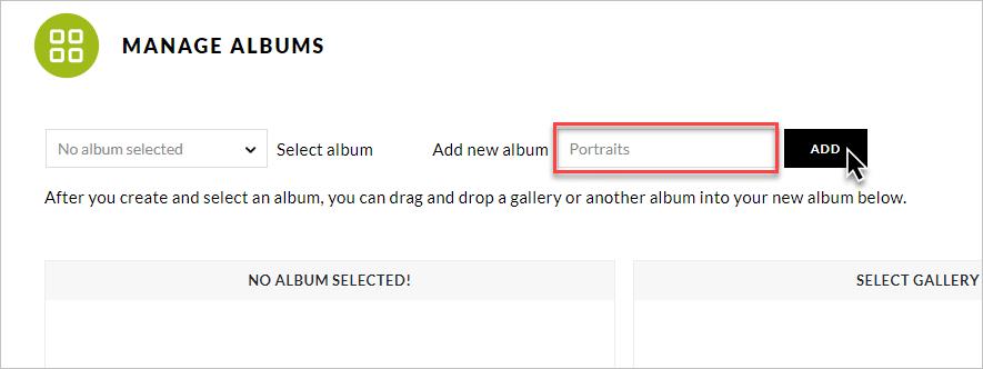 Create Album button, add