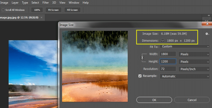 To view and change the dimensions in Photoshop, you can go to Image > Image Size: