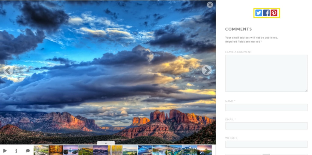 Next up, adding social share buttons to your website can help with visibility. These buttons enable visitors to share your photos and other content with their own social networks. This gives you access to a larger audience, and provides your website visitors with a way to engage: