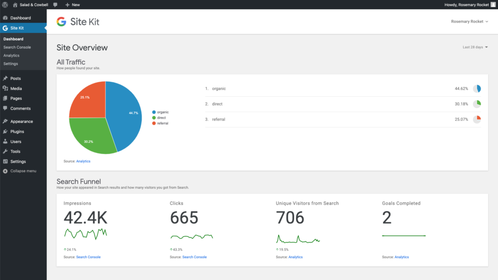 There is also an official Google plugin for the job, called SiteKit which is designed to easily implement Google Analytics, AdSense, Optimize, Tag Manager, and Speed Tests to your WordPress site. It also has reporting charts and data on your dashboard.