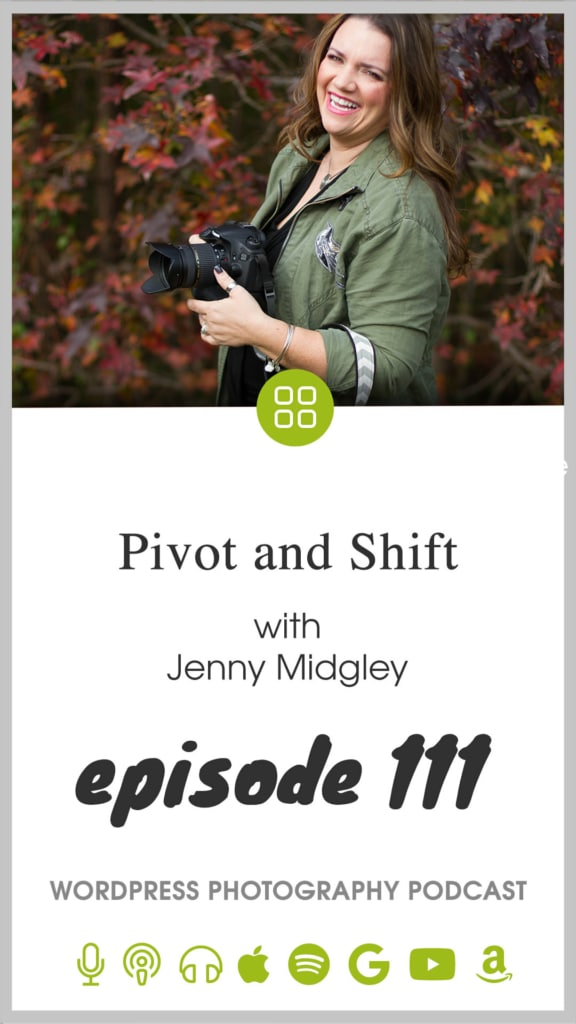 In this episode, Scott talks to Jenny Midgley about how she pivoted her personal brand photography business into a familiar, but new territory. Instead of coaching her photography clients, she's now coaching anyone with a personal brand and in turn, growing her photography business. This is part of a miniseries we're calling Pivot and Shift where we discuss how photographers are adapting to this new world changed by the COVID-19 pandemic.