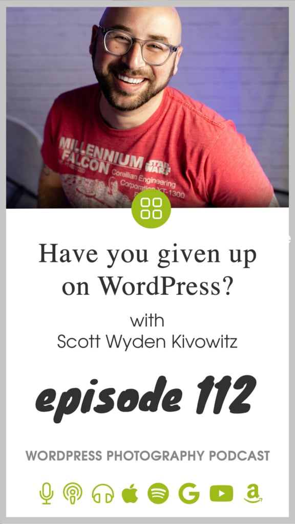 WordPress photography podcast episode 112 pin