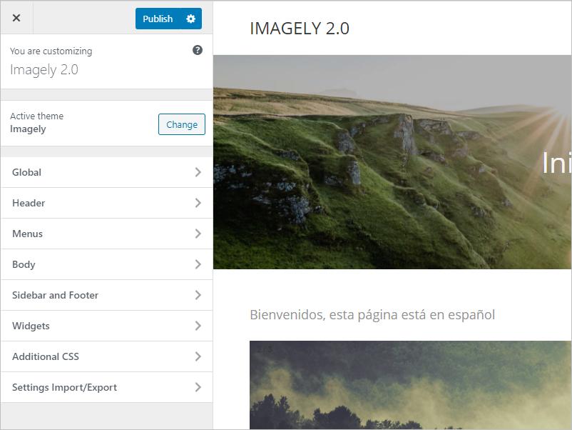 Imagely theme settings