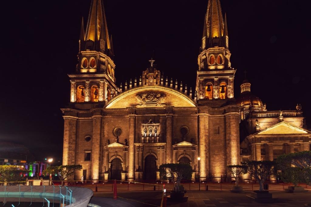 Guadalajara Cathedral at night