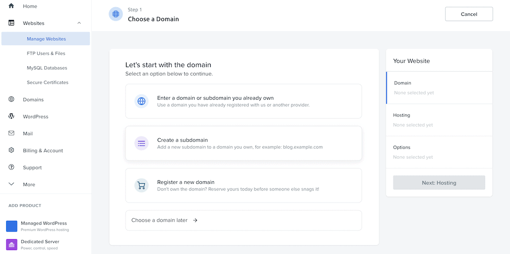 Creating a new site in DreamHost.